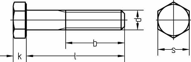 Болты с шестигранной головкой DIN 960 8.8 с неполной резьбой, мелкий шаг.